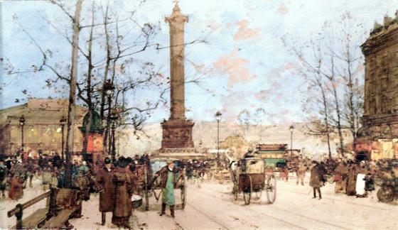 The Bastille Paris. Art works by Eugene Galien-Laloue